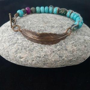 Handcrafted Turquoise Gemstone Feather Bracelet